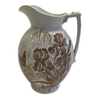 Antique Brown Transferware Pitcher For Sale