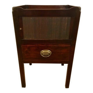 Antique 18th C. English Mahogany with Brass Commode With Tambour Door For Sale