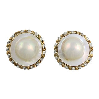 Large 14k Blister Pearl and Diamond Clip Back Earrings For Sale