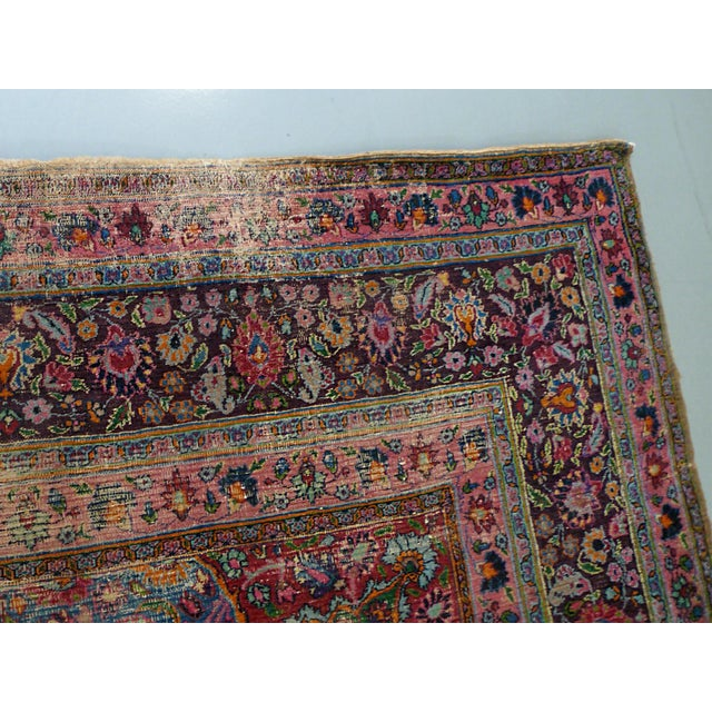 "Textile 1920s Handwoven Kerman Rug 13' 2"" X 10' 4"" For Sale - Image 7 of 13"