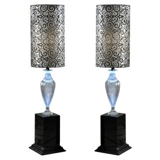 1980s Italian Lead Crystal on a Wooden Base Amphora Floor Lamps with Silk Shades - a Pair For Sale