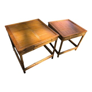 Ficks and Reed Style Bamboo Rattan Nesting Tables - a Pairt