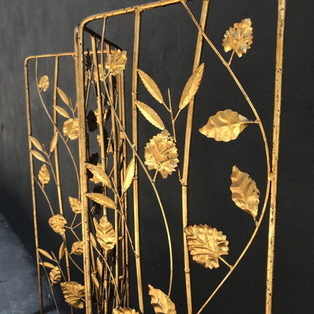 1940s Vintage Italian Gilt Ironwork Tole Screen For Sale - Image 5 of 10