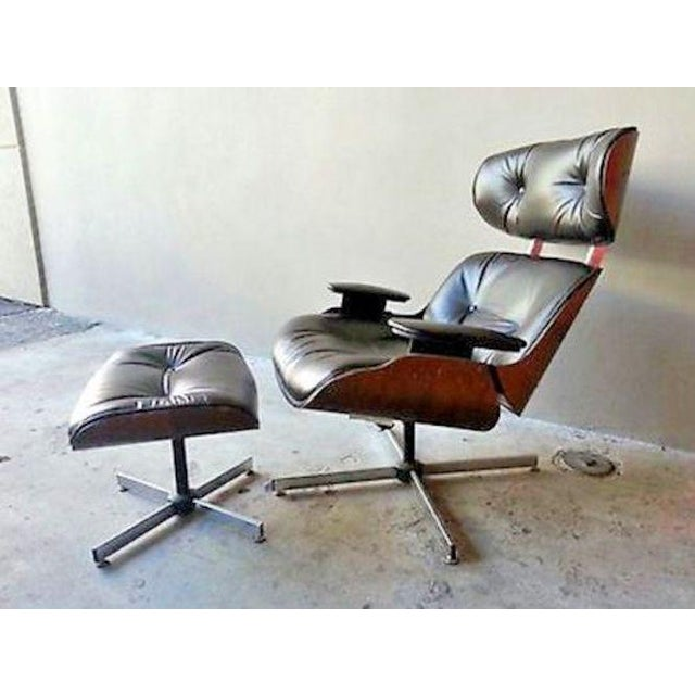 Animal Skin Vintage Original 60's Plycraft Eames Chair and Ottoman For Sale - Image 7 of 7