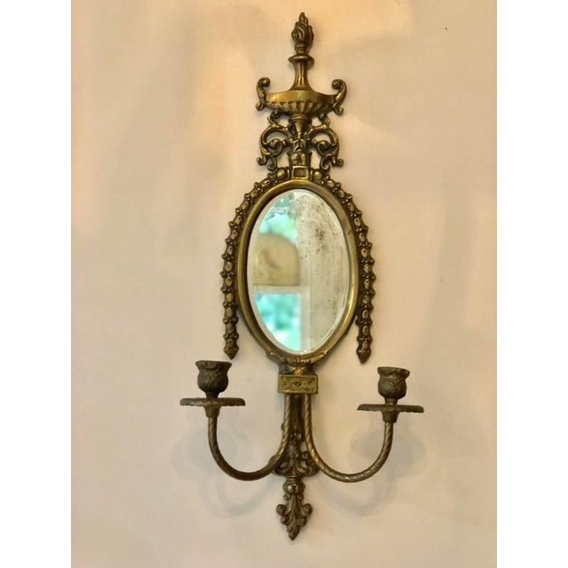 Vintage Brass Mirrored Wall Sconce For Sale - Image 10 of 10