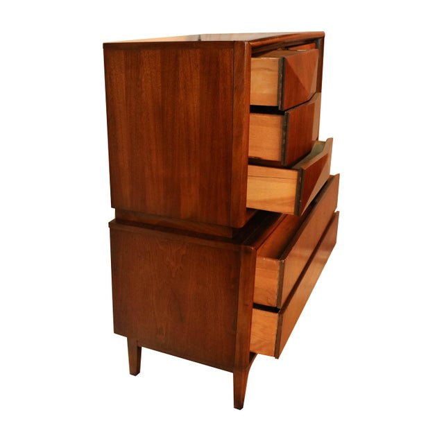 United Mid Century Modern Diamond Front Tall Highboy Dresser For Sale - Image 5 of 10