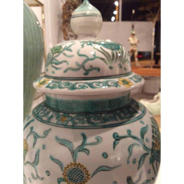 Asian Vintage Green Asian Oriental Greek Key Hollywood Regency Ginger Jars - a Pair For Sale - Image 3 of 11