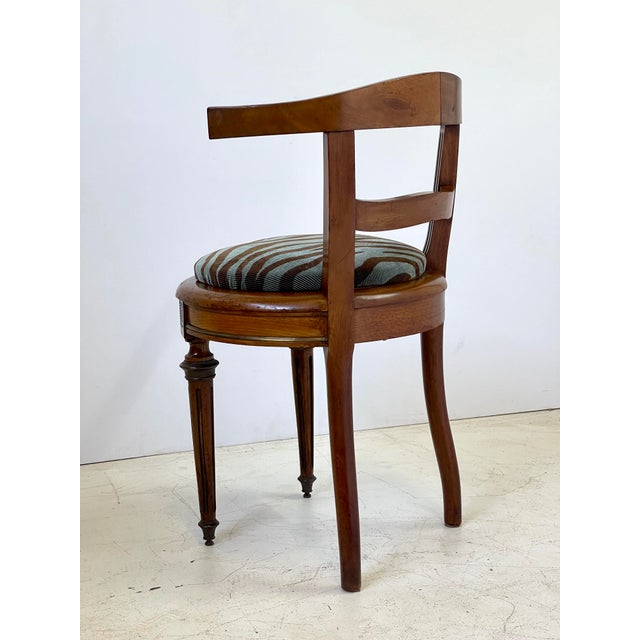 Neoclassical Vanity Chair of Walnut and Brass For Sale In Atlanta - Image 6 of 13