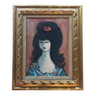 Mid-Century Original Portrait of a Girl For Sale