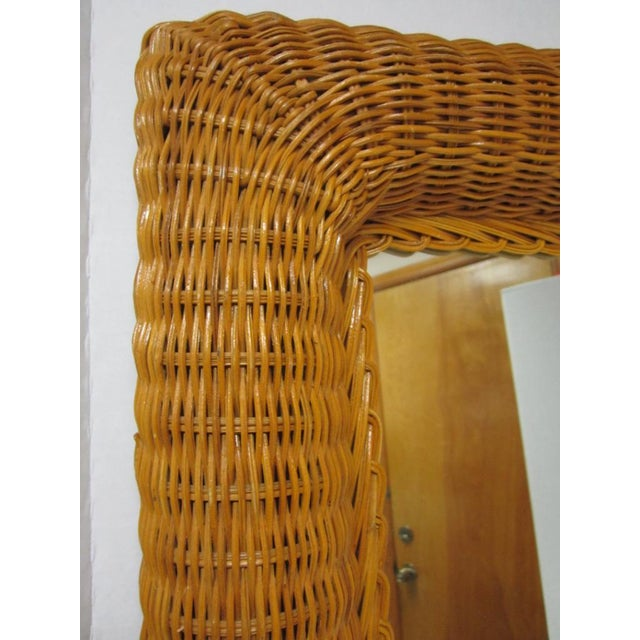 Vintage Lacquer Wicker Rattan Wall Mirror - Image 8 of 11