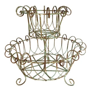 Vintage French 2-Tier Metal Patinated Planter For Sale