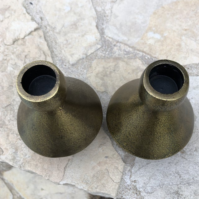 1970s 1970s Modern Brutalist Style Cast Brass Candle Holders - a Pair For Sale - Image 5 of 13