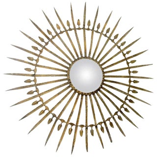 French Metal Starburst Mirror With Detailed Arms For Sale
