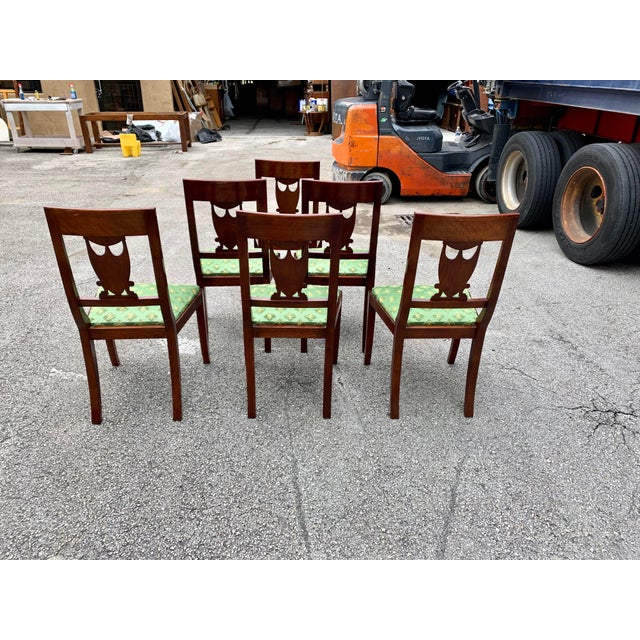 Wood 1910s French Empire Solid Mahogany Dining Chairs - Set of 6 For Sale - Image 7 of 13
