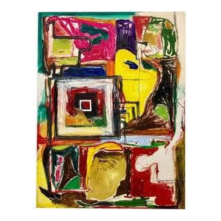 """Graphic Perimeter"" Original Oil on Linen by Tom Goldenberg For Sale"