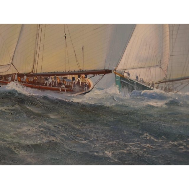 Nautical Yacht Racing Oil on Canvas, Michael Whitehand For Sale - Image 4 of 12