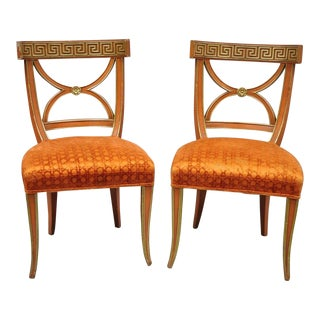 Early 20th Century Vintage Hollywood Regency French Greek Key Orange Side Chairs For Sale