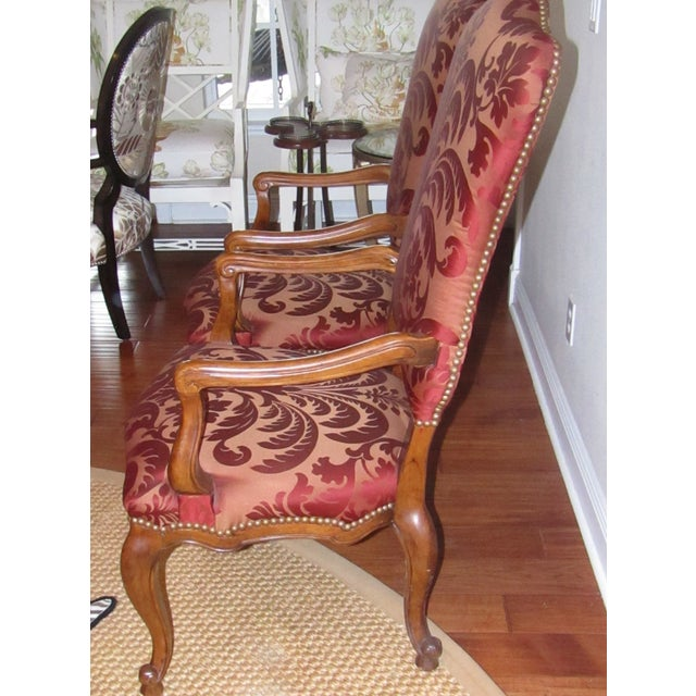 Century Furniture Century Furniture Host & Hostess Damask Silk Upholstery Chairs - a Pair For Sale - Image 4 of 8