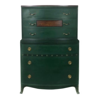 1930s Traditional Dark Green Tall Boy Dresser For Sale