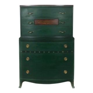 1930s Traditional Dark Green Tall Boy Dresser For Sale