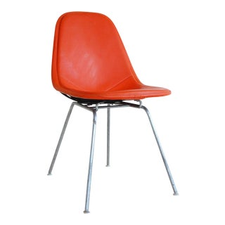 Charles and Ray Eames Mid-Century Modern Dkx-1 Alexander Girard Orange Naugahyde Wire Chair