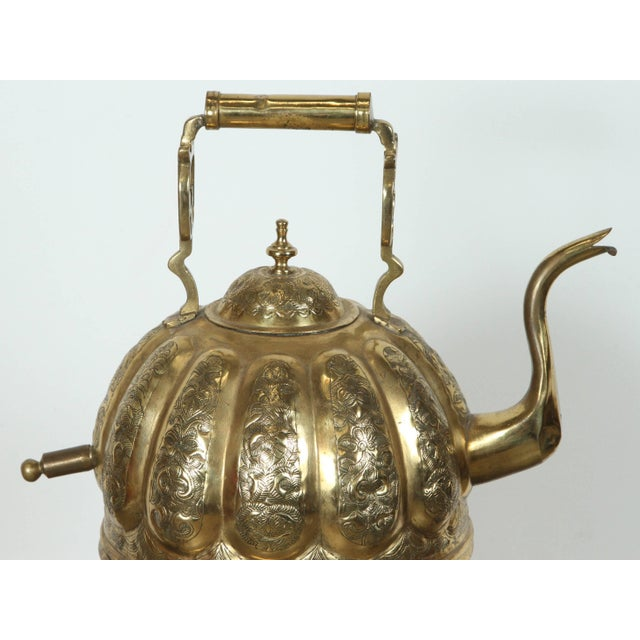 Moroccan Brass Kettle on Stand Handcrafted in Fez Morocco For Sale In Los Angeles - Image 6 of 11