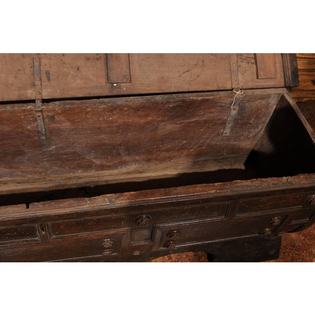 Wood Early 18th Century Italian Hand-Carved Walnut Cassone Chest from Siena For Sale - Image 7 of 10