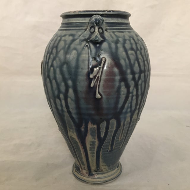 Art Deco Artisan Crafted Blue & Purple Drip Glaze Vase For Sale - Image 3 of 8