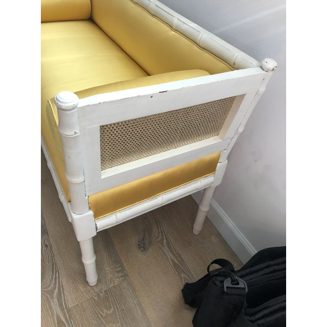 Wood Vintage Mid-Century Faux Bamboo & Gold Satin Bench For Sale - Image 7 of 9