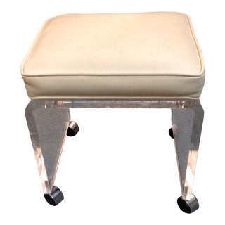 Vintage Mid-Century Modern Lucite Vanity Stool With Rollers