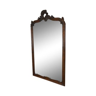 Louis Philippe Rococo Carved Large Antique Oak Frame Mirror For Sale
