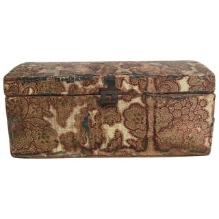 19th Century WallPaper Covered Dome Top Wedding Box For Sale