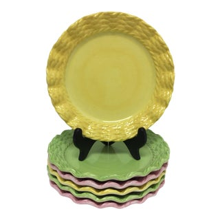 Basket Weave Scalloped Edge Salad Plates in Spring Colors - Set of 6 For Sale