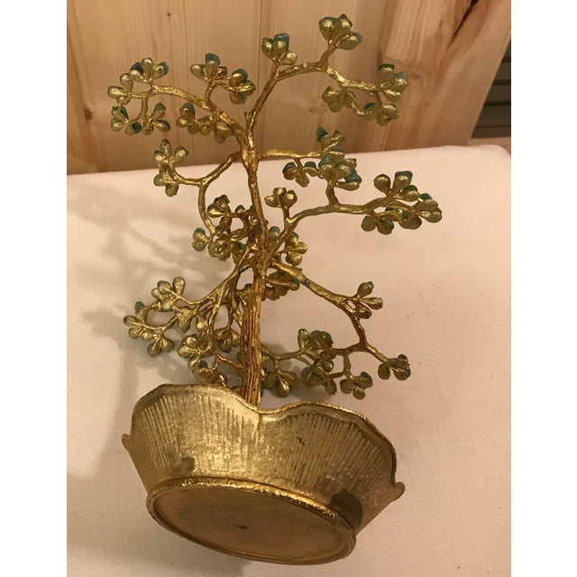 Mid-Century Modern Agate Bonsai Tree in Gold Dish - Image 10 of 10