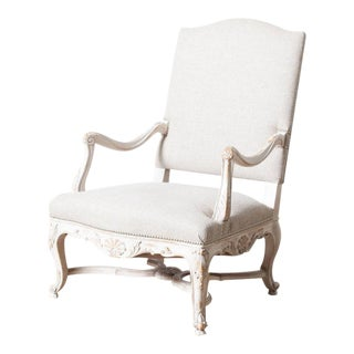 Antique White Upholstered French Chair For Sale
