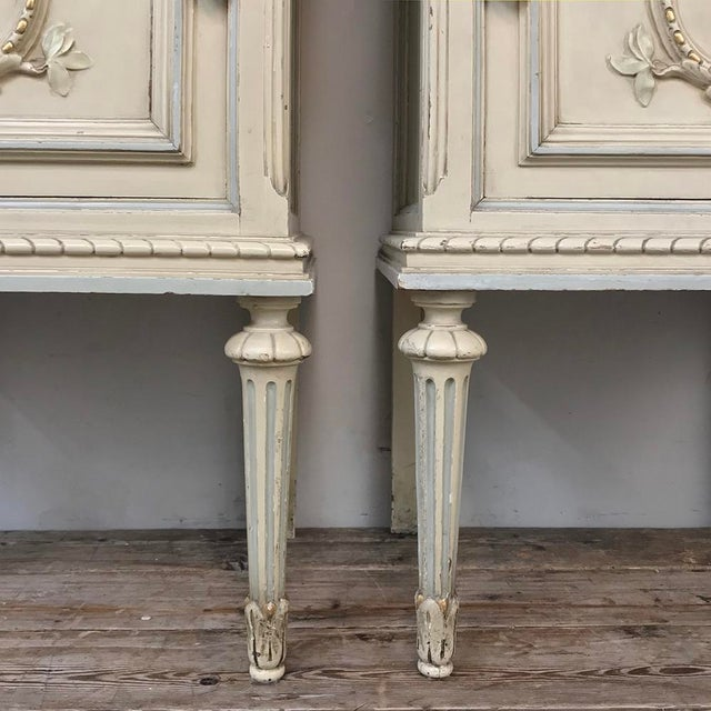 Pair Antique Italian Louis XVI Painted Nightstands For Sale - Image 12 of 13