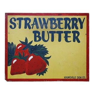Vintage Strawberry Butter Sign For Sale