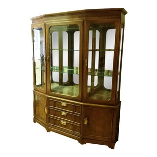 1980s Thomasville Campaign Style China Cabinet For Sale