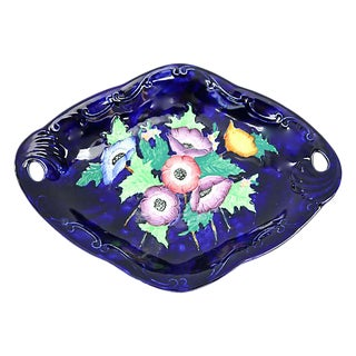 1930s Hand-Painted English Floral Dish