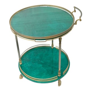 Mid-Century Modern Aldo Tura Green Goatskin and Brass Bar Cart With Removable Tray For Sale