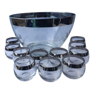 Mid-Century Silver Rim Punch Bowl & Cups - Set of 12 For Sale