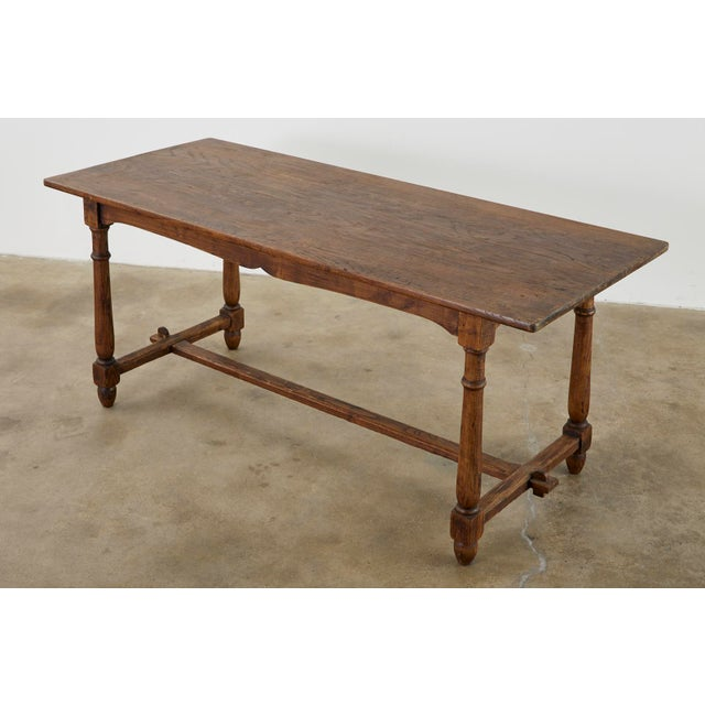 Farmhouse Country English Provincial Oak Farmhouse Trestle Dining Table For Sale - Image 3 of 13