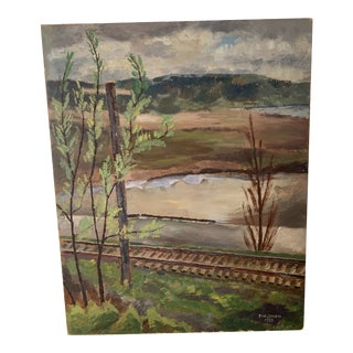 Railroad Tracks Landscape Painting, Signed Owen 1939 For Sale