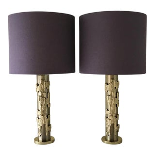 Pair of Cylindrical Brutalist Table Lamps by Tempestini 1970s For Sale