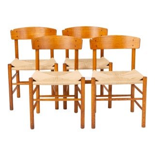 Set of Four J39 Oak Dining Chairs by Børge Mogensen for Fdb Møbler For Sale