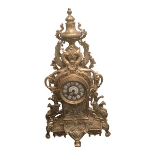 1910s Antique Brass Mantel Clock For Sale
