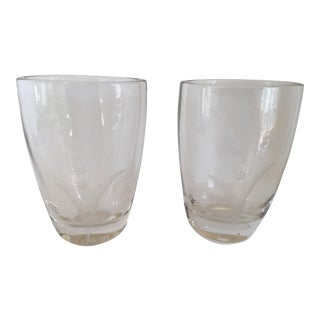 Signed Swedish Glass Vase - a Pair For Sale