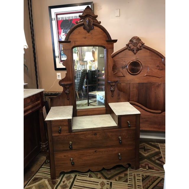 Victorian Marble Top Vanity with Carved Crown & Tear Drop Pulls For Sale - Image 10 of 10