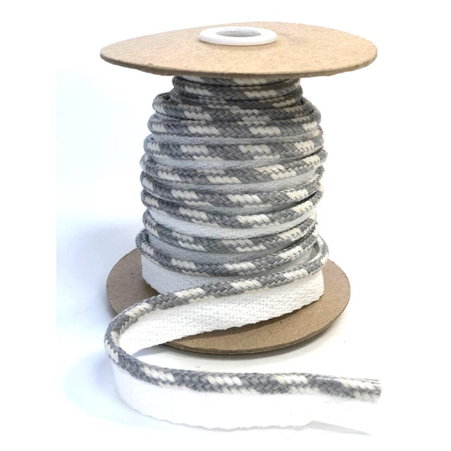 """Braided 1/4"""" Indoor/Outdoor White/Gray Cord For Sale - Image 10 of 10"""