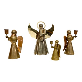 Copper and Brass Holiday Angel Display, Set of 4 For Sale